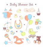 Baby shower seamless pattern. Texture for baby girl and baby boy Royalty Free Stock Photos