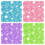 Baby shower seamless patterns. stock illustration