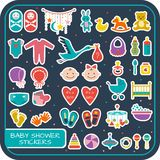 Baby shower set. Set of baby shower stickers. Vector illustration Royalty Free Stock Photo