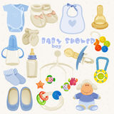 Baby shower set in blue colors for boy. Royalty Free Stock Photos