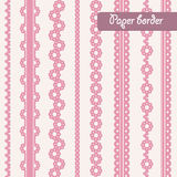 Baby shower set of border for girl. Baby shower set of border for design of  paper, cards. Set for girl Stock Image