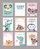 Baby Shower. Set of baby shower cards with cute animals Royalty Free Stock Images
