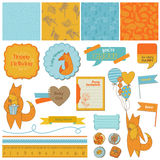 Baby Shower Set with Cute Foxes Royalty Free Stock Photo