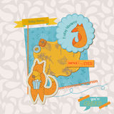 Baby Shower Set with Cute Foxes Royalty Free Stock Images