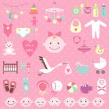 Baby shower set for girl Stock Image