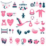 Baby shower set for girl. Set of baby shower flat elements isolated on white background. Vector illustration Stock Photography