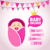 Baby Shower Set. girl. Baby icons Stock Photo