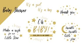 Free Baby Shower Set Gold Templates Twinkle Twinkle Little Star Text Oh Baby Glitter Star Invtation Thank You Card Royalty Free Stock Photo - 154014485