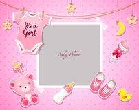 Free Baby Shower Set. Invitation Template With Place For Text Stock Photo - 111695150