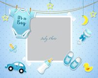 Free Baby Shower Set. Invitation Template With Place For Text Royalty Free Stock Photo - 111695185