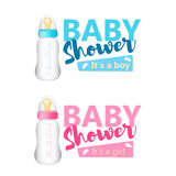 Baby Shower set. Realistic blue and pink baby bottles icon. Vect Royalty Free Stock Image