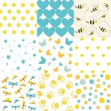 Baby shower set of seamless backgrounds. And vector illustration Royalty Free Stock Photography