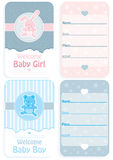 Baby shower set of two invitation cards. Design of front and back Stock Images