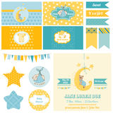 Baby Shower Sleeping Bear Theme. For Party, Scrapbook or Design Elements - in vector Stock Photo