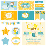 Baby Shower Sleeping Girl Theme  - for Party, Scrapbook. Or Design Elements - in vector Stock Images