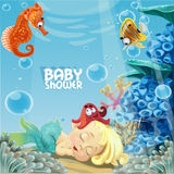 Baby shower with sleeping sweet newborn mermaid Royalty Free Stock Photos