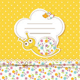 Baby shower with snail. Cute baby background with funny snail Stock Images