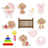 Baby Shower Stickers. Baby girl icons. Stock Photos