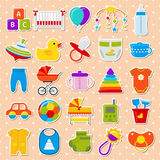 Baby shower stickers. Set icons. Vector illustration. Stock Photography