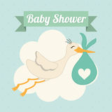 Baby Shower. stork. Pastel design. vector graphic Royalty Free Stock Photo