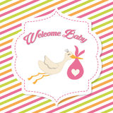 Baby Shower. stork. Pastel design. vector graphic Stock Images