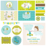 Baby Shower Stork Theme Set. For Party Decoration, Scrapbook, Baby Shower - in vector Stock Images