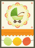 Baby Shower Stroller invitation Card. Vector Illustration Of a Baby Shower Stroller  invitation Card Royalty Free Stock Images