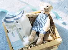 Baby shower stuff in blue theme Stock Photos
