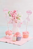 Baby shower sweet table. Butter cream cupcakes and cookie for a baby shower royalty free stock images