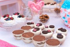 Baby shower and sweets on the table.  royalty free stock images