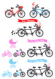 Baby shower with tandem bicycle, vector set. Baby shower with tandem bicycle and children's bike and buggy, vector set Stock Photo