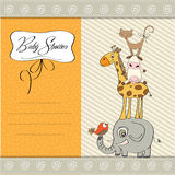 Baby shower template card. With pyramid of animals Stock Images