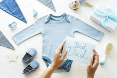 Baby shower themed Best Dad card stock image