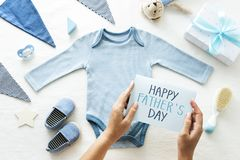 Baby shower themed Father`s Day card royalty free stock photos
