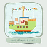 Baby shower. With toy bright ship Vector Illustration