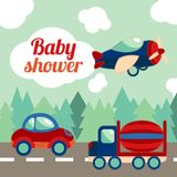 Baby shower toy transport card Royalty Free Stock Photography