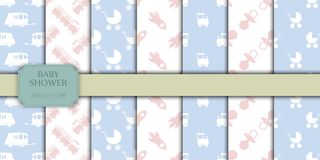 Baby shower toys seamless pattern background vector cute wallpaper scrapbook newborn textile paper illustration. Love kid boy and girl wrapping fabric stock illustration