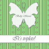 Baby shower triplets vintage with butterfly banner. Vector baby shower triplets vintage with butterfly banner Stock Photography