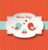 Baby shower with two cute birds and egg, illustration Royalty Free Stock Photography