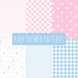 Baby shower: uppsättning av vektorbakgrunder. Arkivfoto