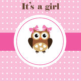 Baby Shower. Vector baby shower card with cute owl Stock Photography