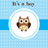 Baby Shower. Vector baby shower card with cute owl Stock Photo