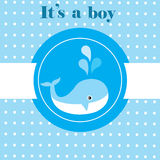 Baby Shower. Vector baby shower card with cute whale royalty free stock photography