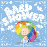 Baby Shower Vector Cartoon Invitation. Vector cartoon of a funny baby under an umbrella Stock Photos