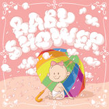 Baby Shower Vector Cartoon Invitation. Vector cartoon of a funny baby under an umbrella Stock Images