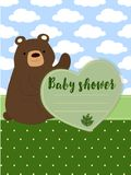 Baby shower vector with cute bear Stock Photos