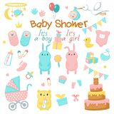 Baby shower vector icon set royalty free illustration