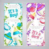 Baby Shower Vertical Banners. Realistic baby bottle milk banners with festive ribbons invitation text and realistic images of feeding bottles vector illustration Royalty Free Stock Images