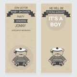 Baby shower vertical. Invitations template for baby shower party baby boy sailor arrival cards vector Stock Image
