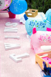 Baby shower welcome decorations on table Stock Photo